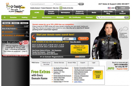 Godaddy captura de pantalla