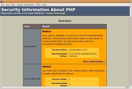Herramienta de seguridad phpSecInfo