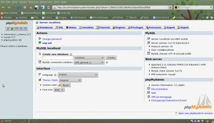 Panel de SQL PhpMyAdmin